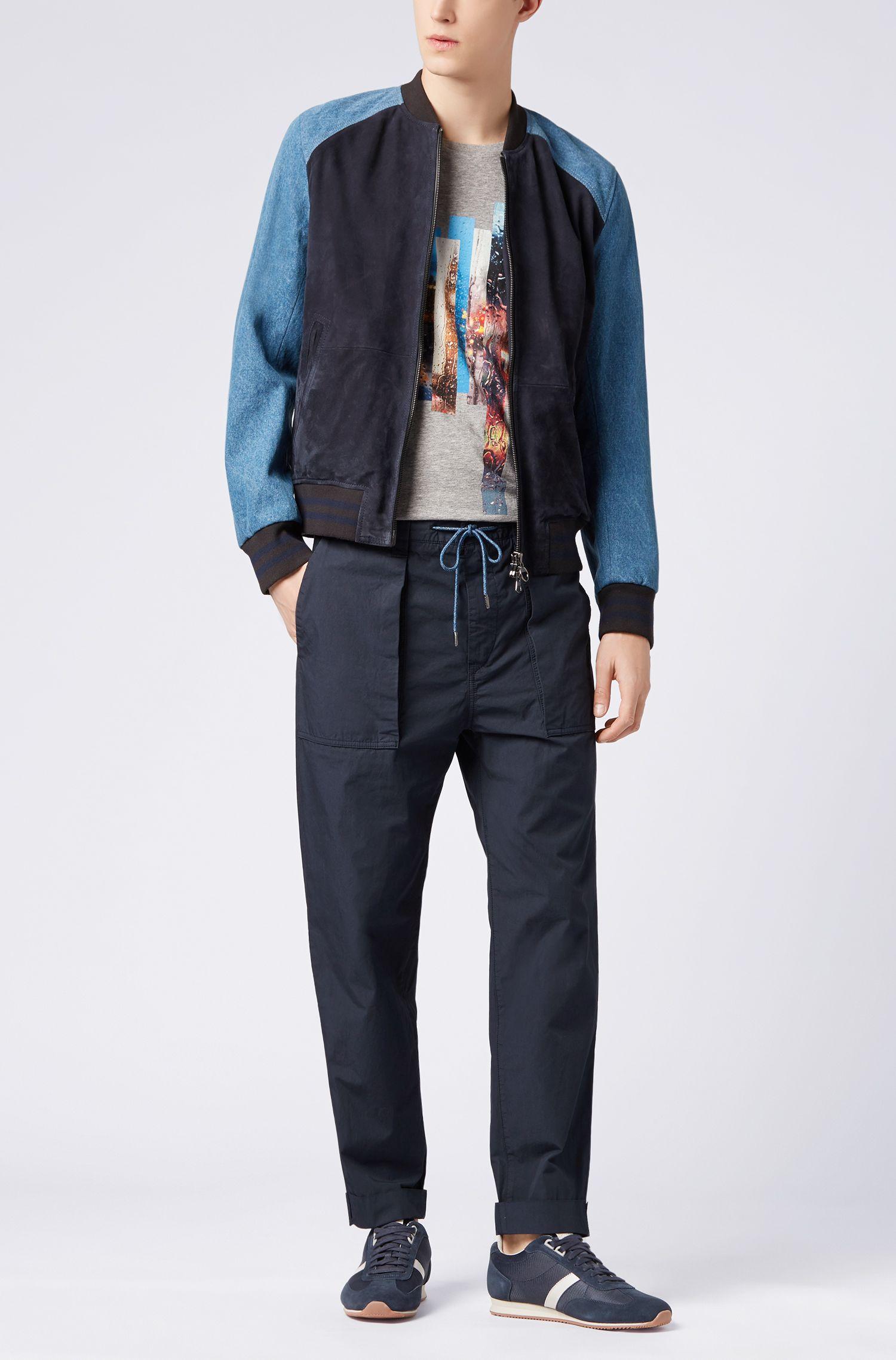 Pantalon raccourci Relaxed Fit en popeline de coton italien surteint