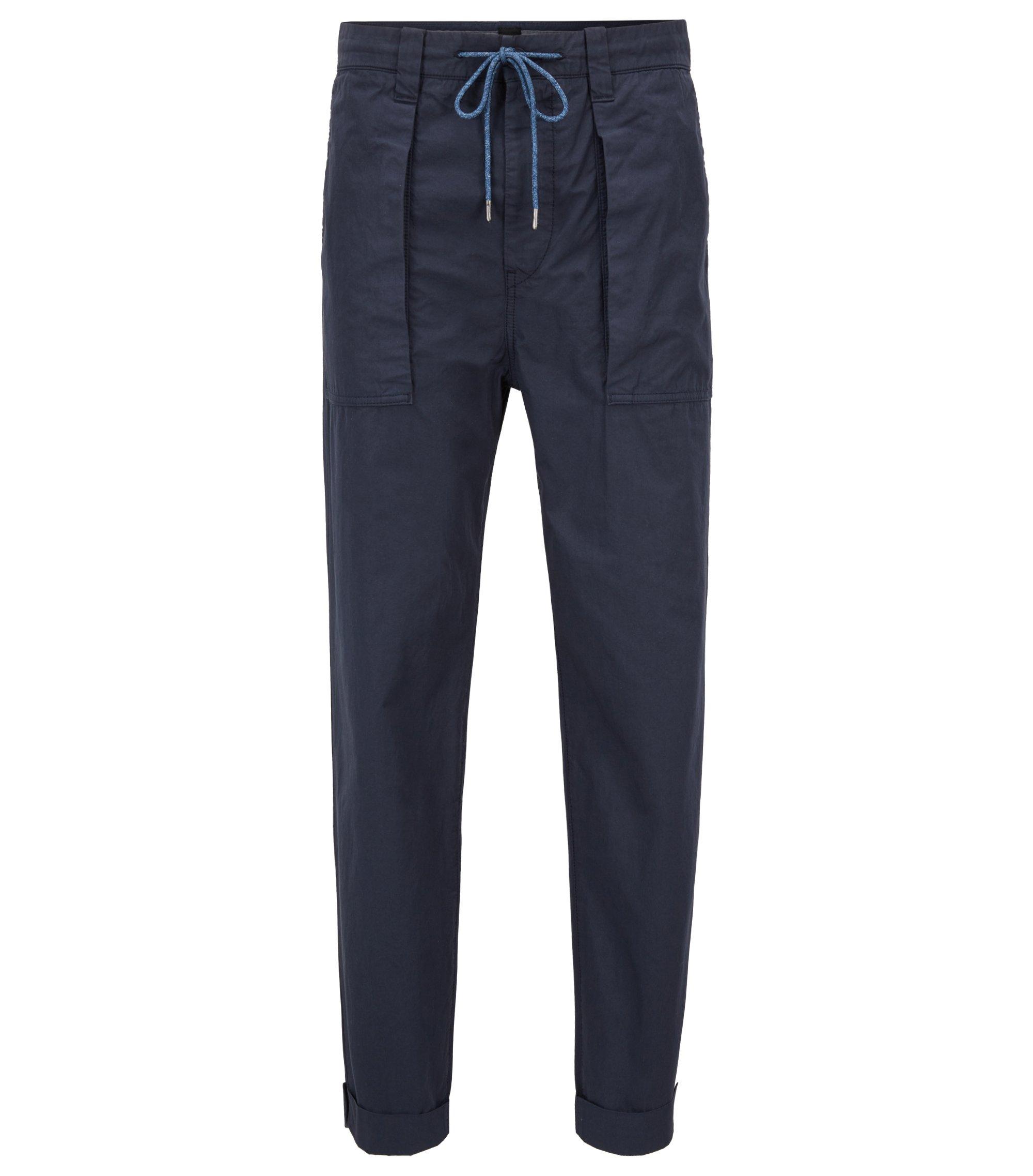 Kortere relaxed-fit broek van oververfde Italiaanse katoenen popeline, Donkerblauw