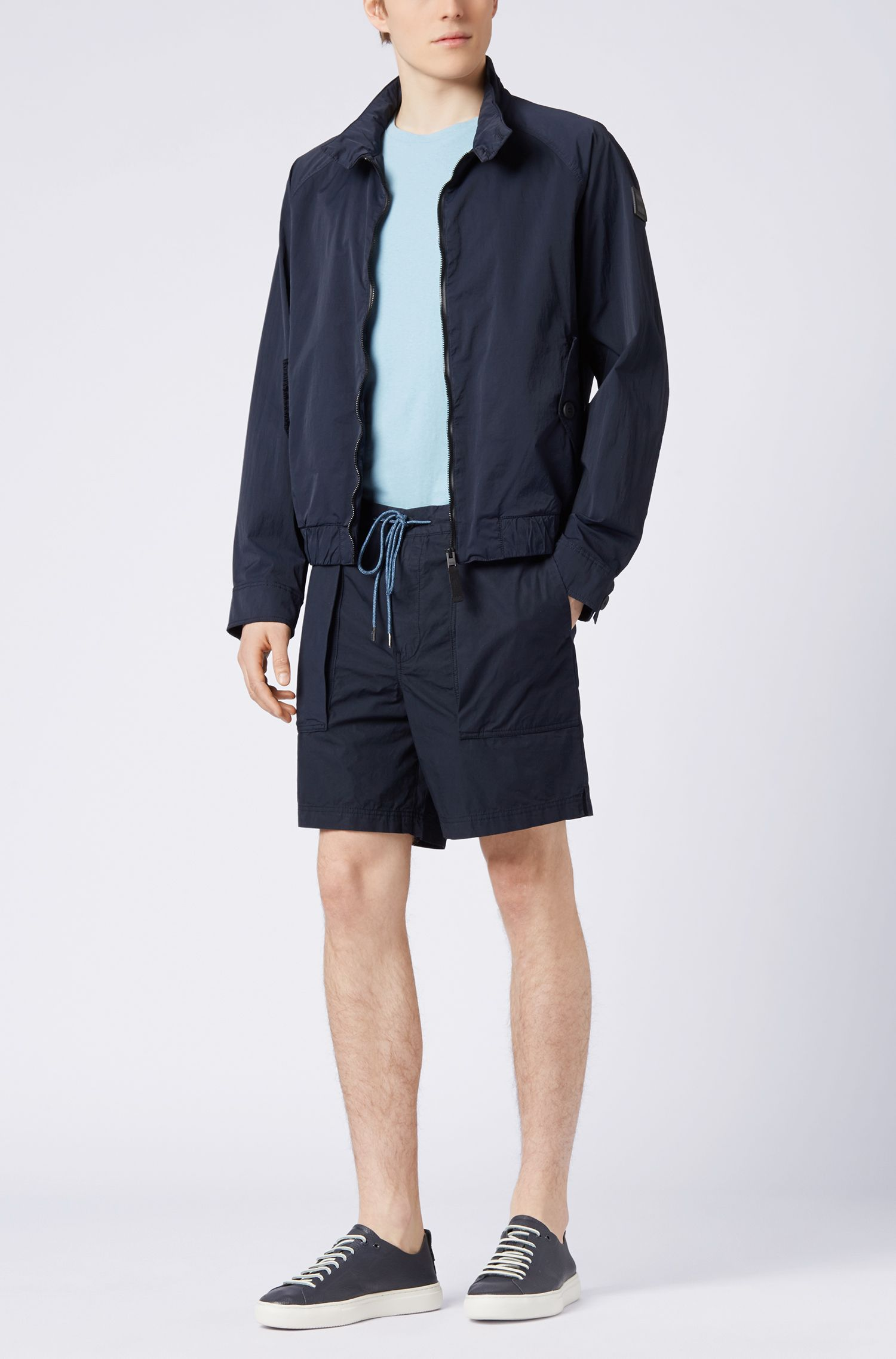 Relaxed-fit shorts in overdyed Italian cotton