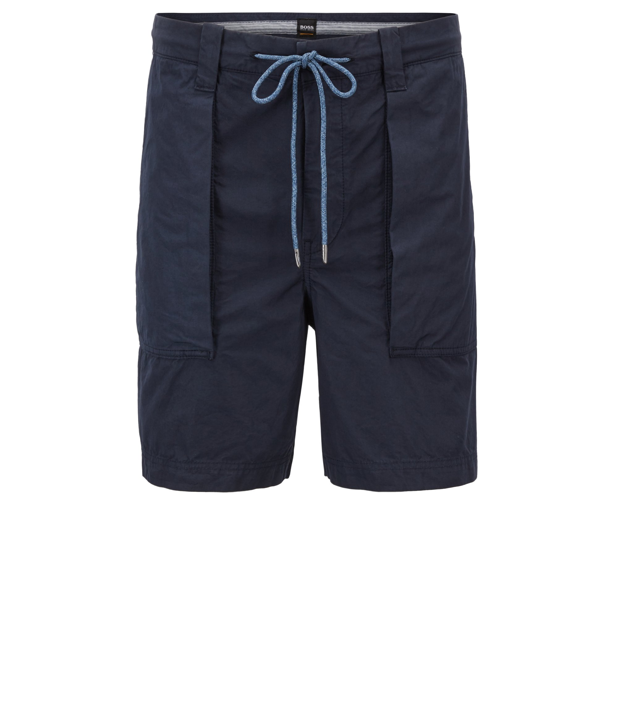 Relaxed-fit shorts in overdyed Italian cotton, Dark Blue