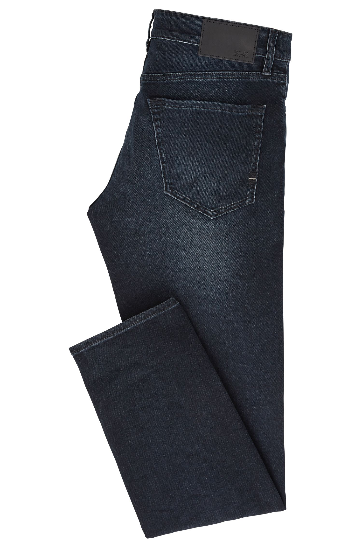Regular-Fit Jeans aus überfärbtem Stretch-Denim, Dunkelblau