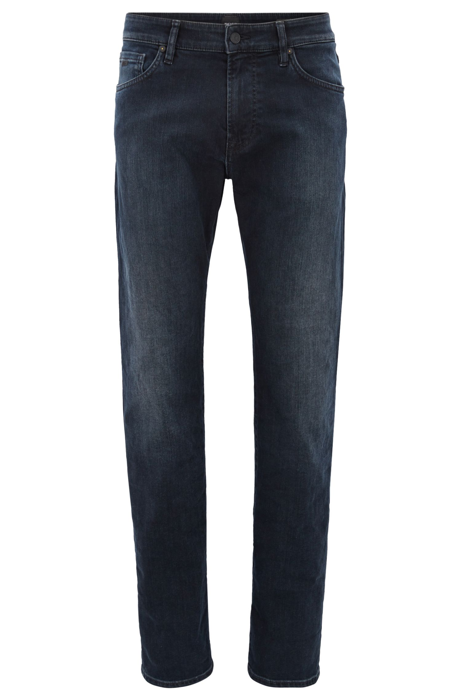 Jeans regular fit in denim elasticizzato sovratinto blu-nero, Blu scuro