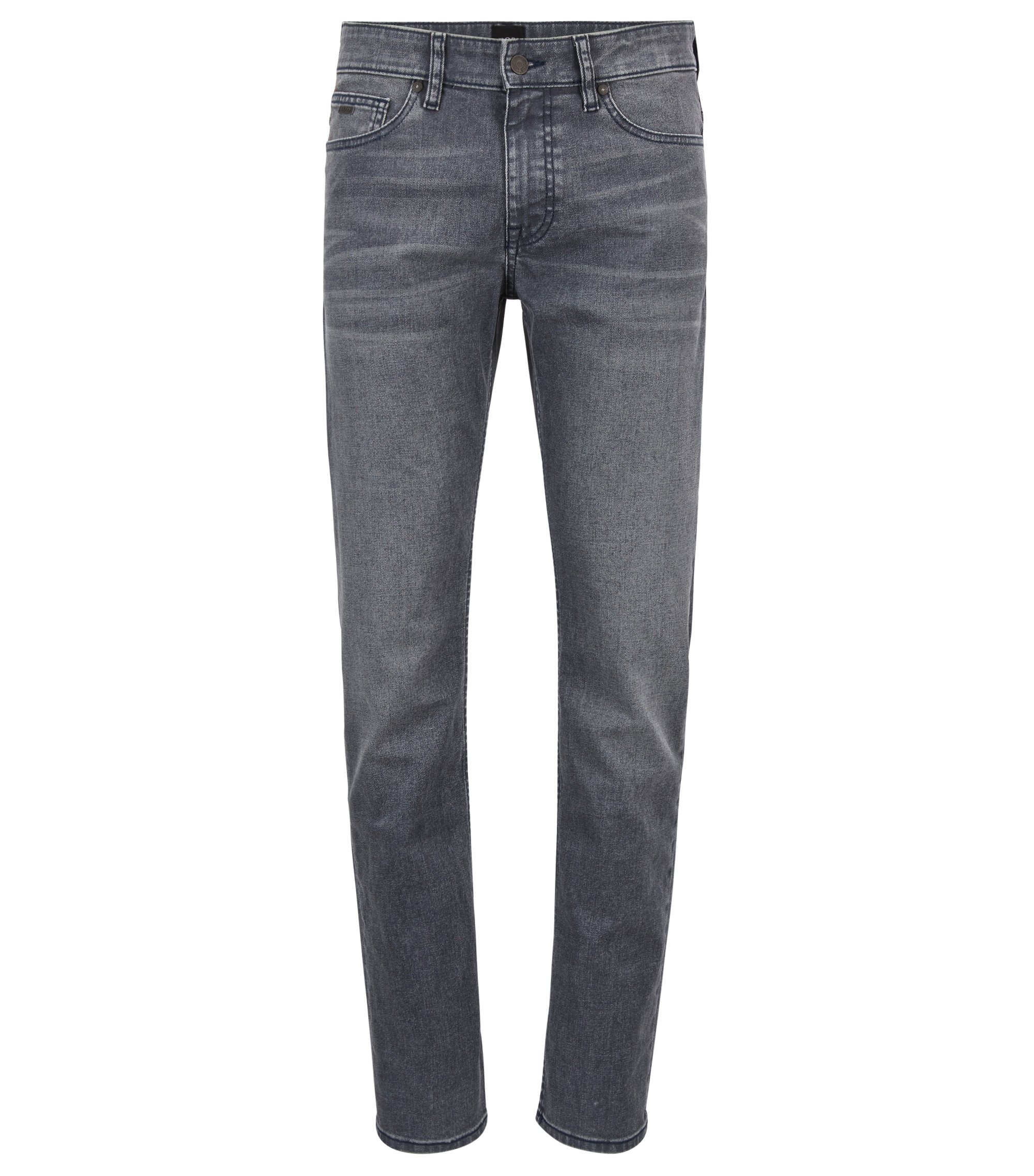 Jean Slim Fit en denim stretch enduit gris, Anthracite