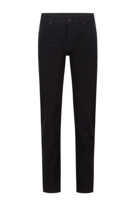 Jeans regular fit in denim elasticizzato nero intenso, Nero