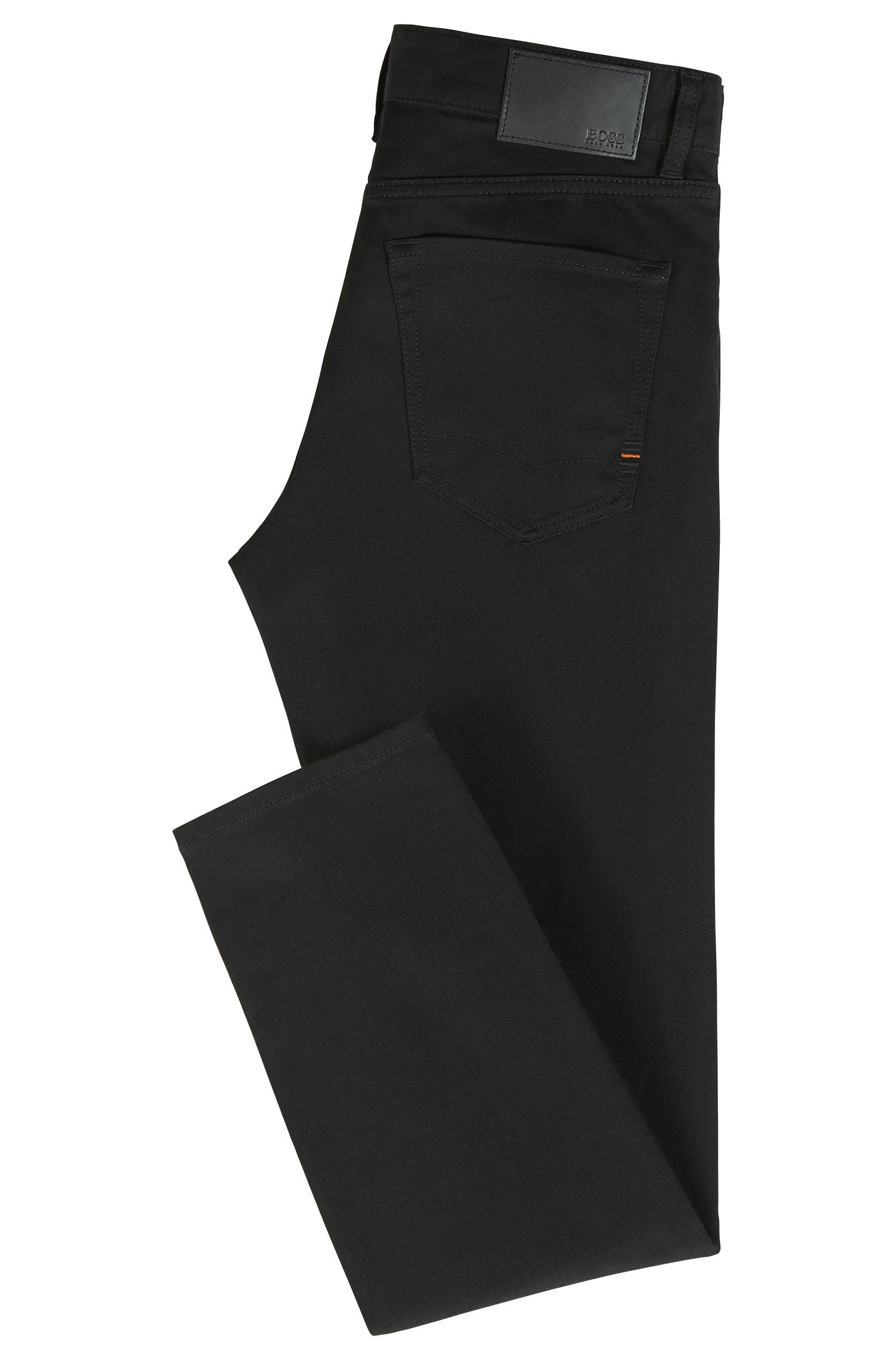 Regular-fit jeans in black comfort-stretch denim, Black