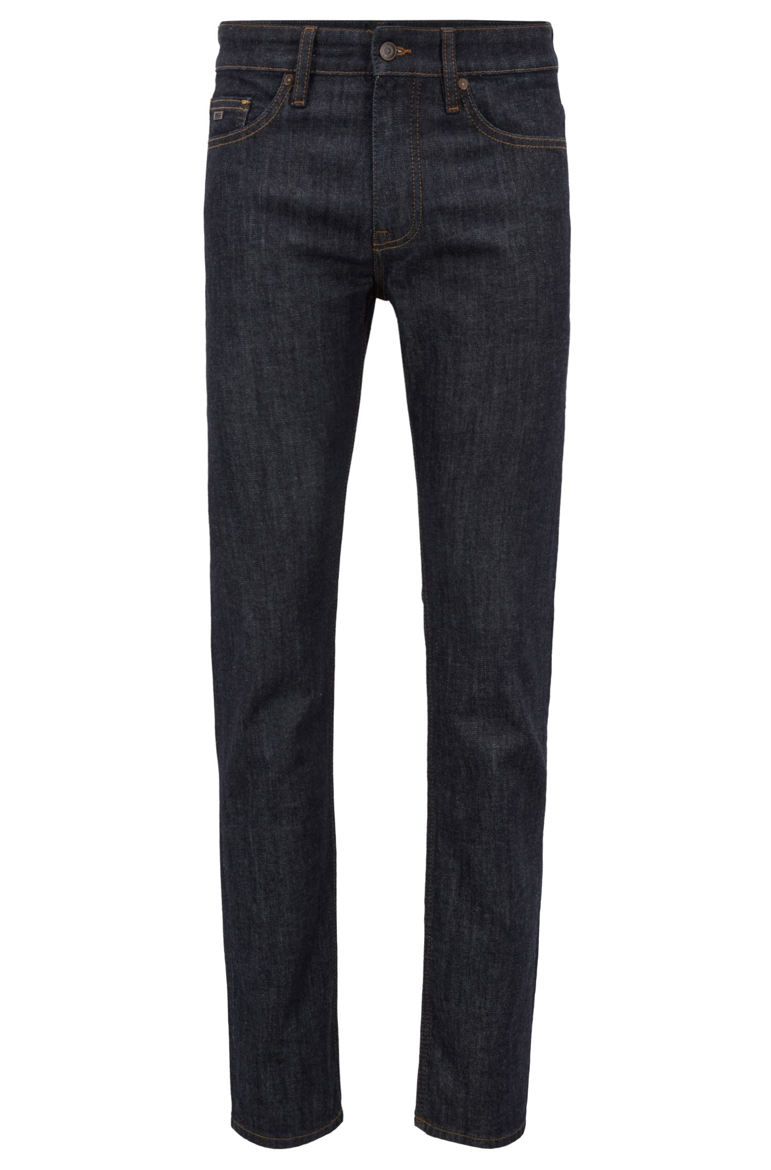 Slim-fit jeans in rinse-wash indigo stretch denim, Dark Blue