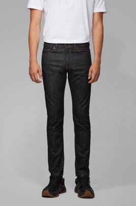 Slim-fit jeans in rinse-washed stretch denim, Dark Blue