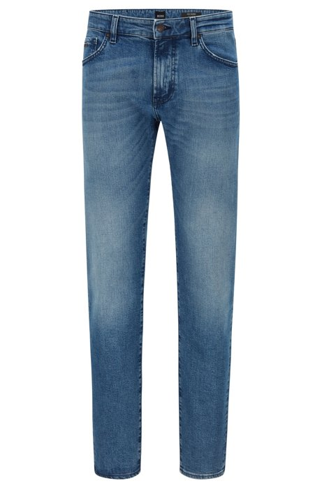 Jean Regular Fit en denim stretch confortable stone-washed, Bleu