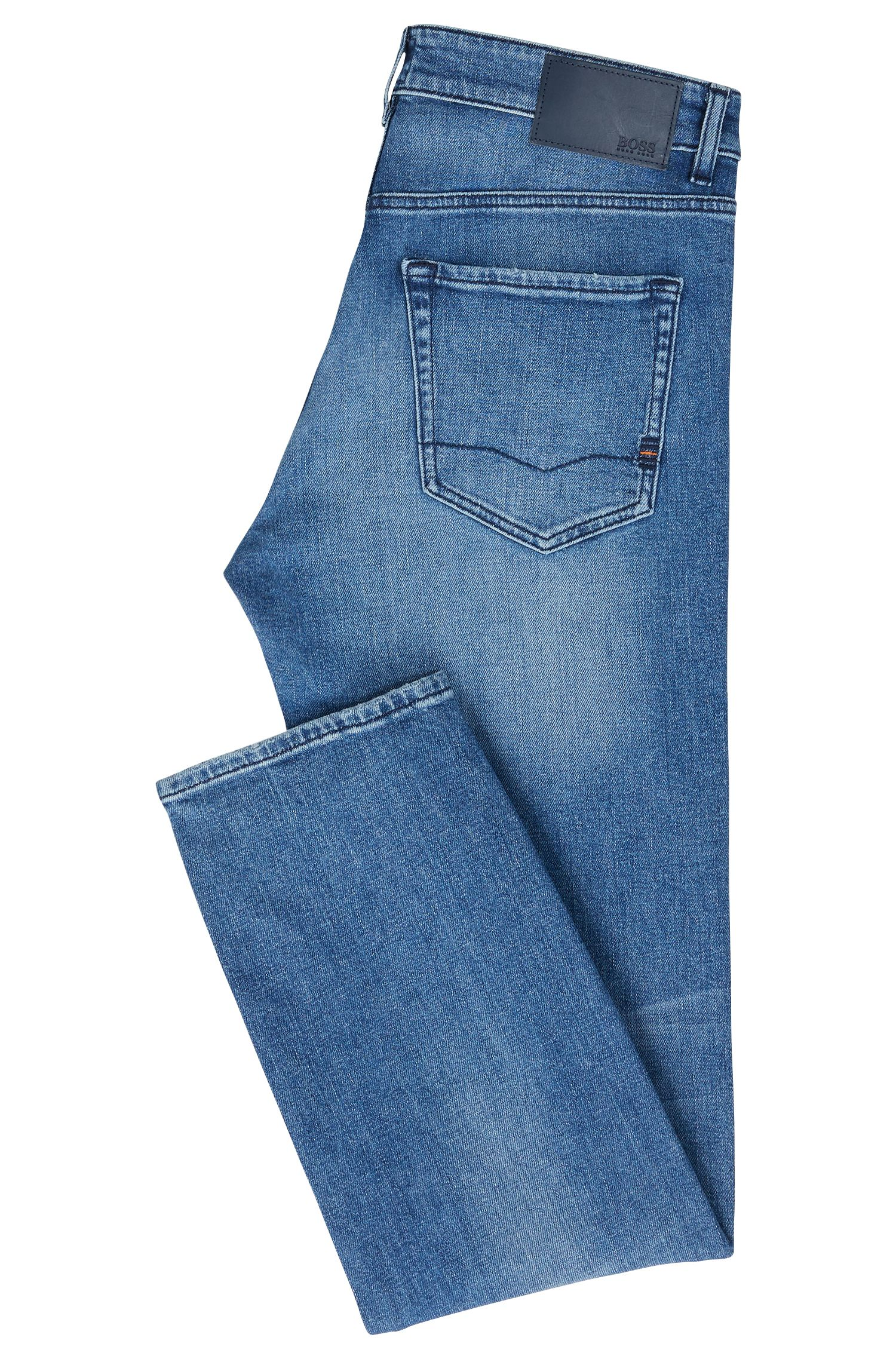 Regular-Fit Jeans aus Stretch-Denim mit Stone-washed-Effekt, Blau