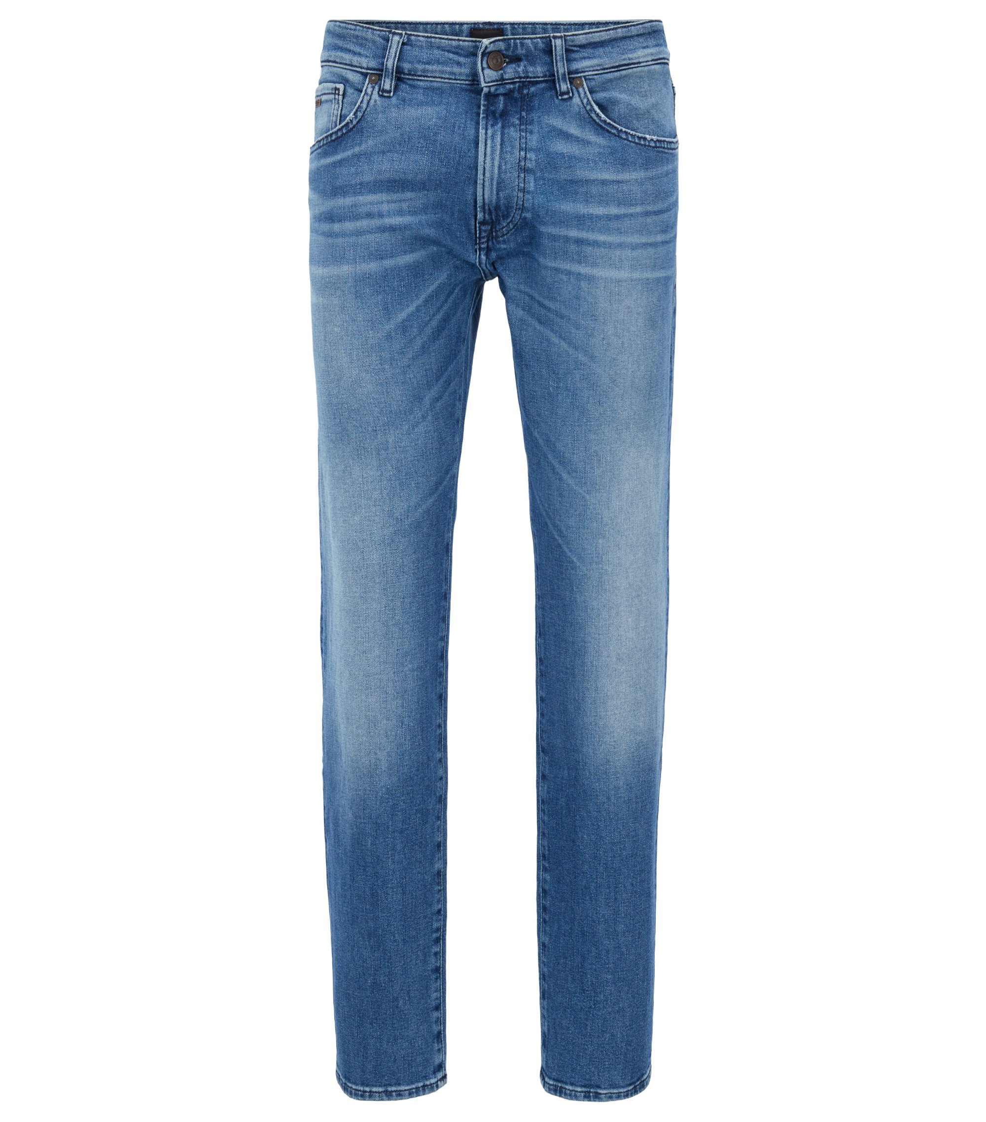 Regular-fit jeans in comfort-stretch stonewashed denim, Blue
