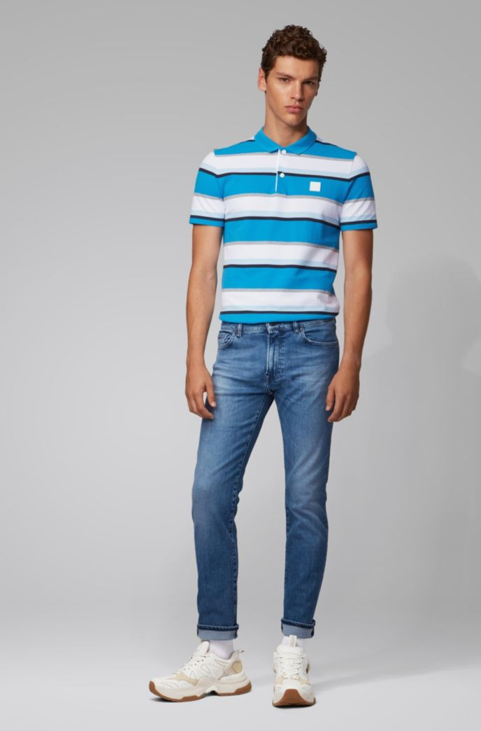 Jean Regular Fit en denim stretch bleu vif aux effets usés