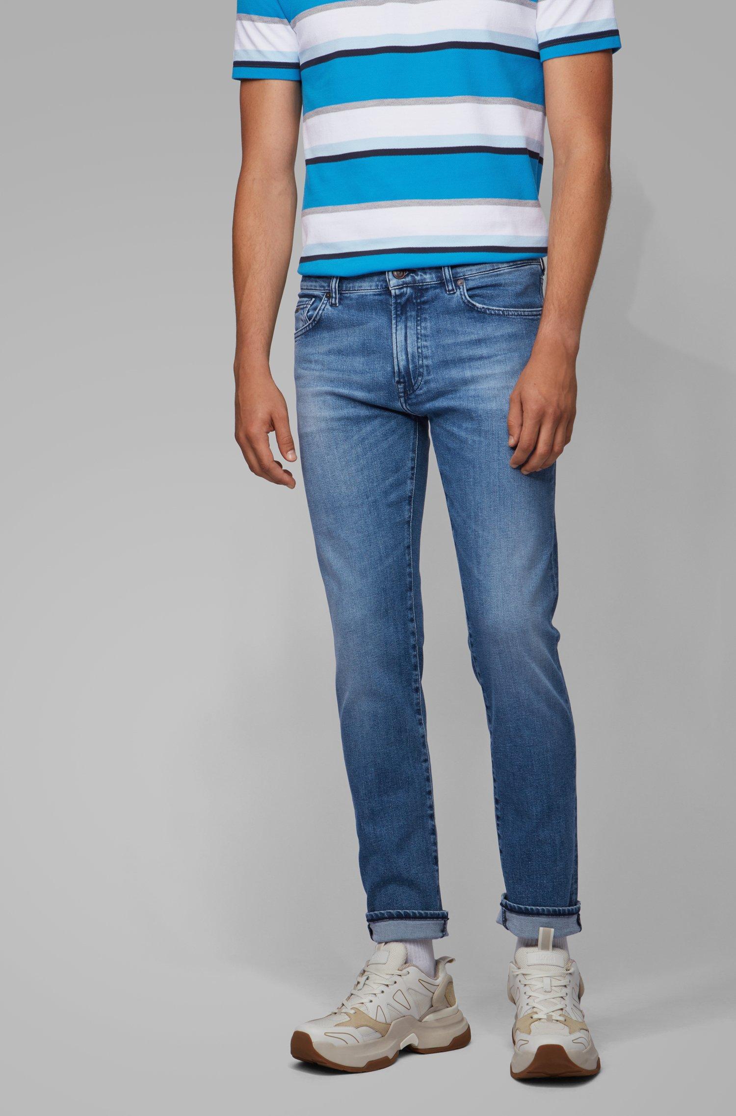 Regular-fit jeans in bright-blue distressed stretch denim, Blue