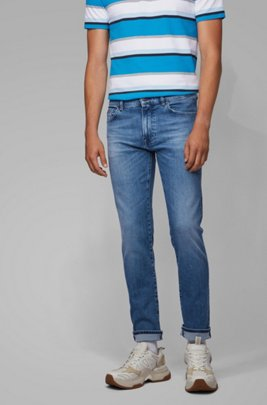 Jean Regular Fit en denim stretch bleu vif aux effets usés, Bleu