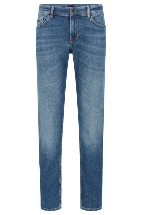 Slim-fit jeans in mid-blue used-effect stretch denim, Blue