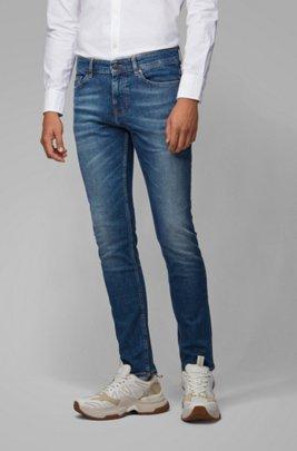 Slim-fit jeans van middenblauw distressed stretchdenim, Blauw
