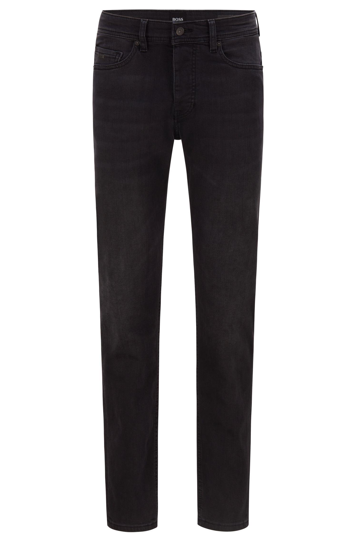 Jeans tapered fit in denim nero lavato super-elasticizzato, Nero