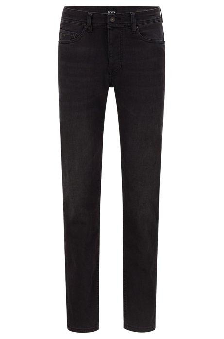 Tapered-Fit Jeans aus gewaschenem Super-Stretch-Denim, Schwarz