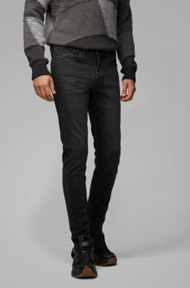 Tapered-fit jeans in washed black super-stretch denim, Black