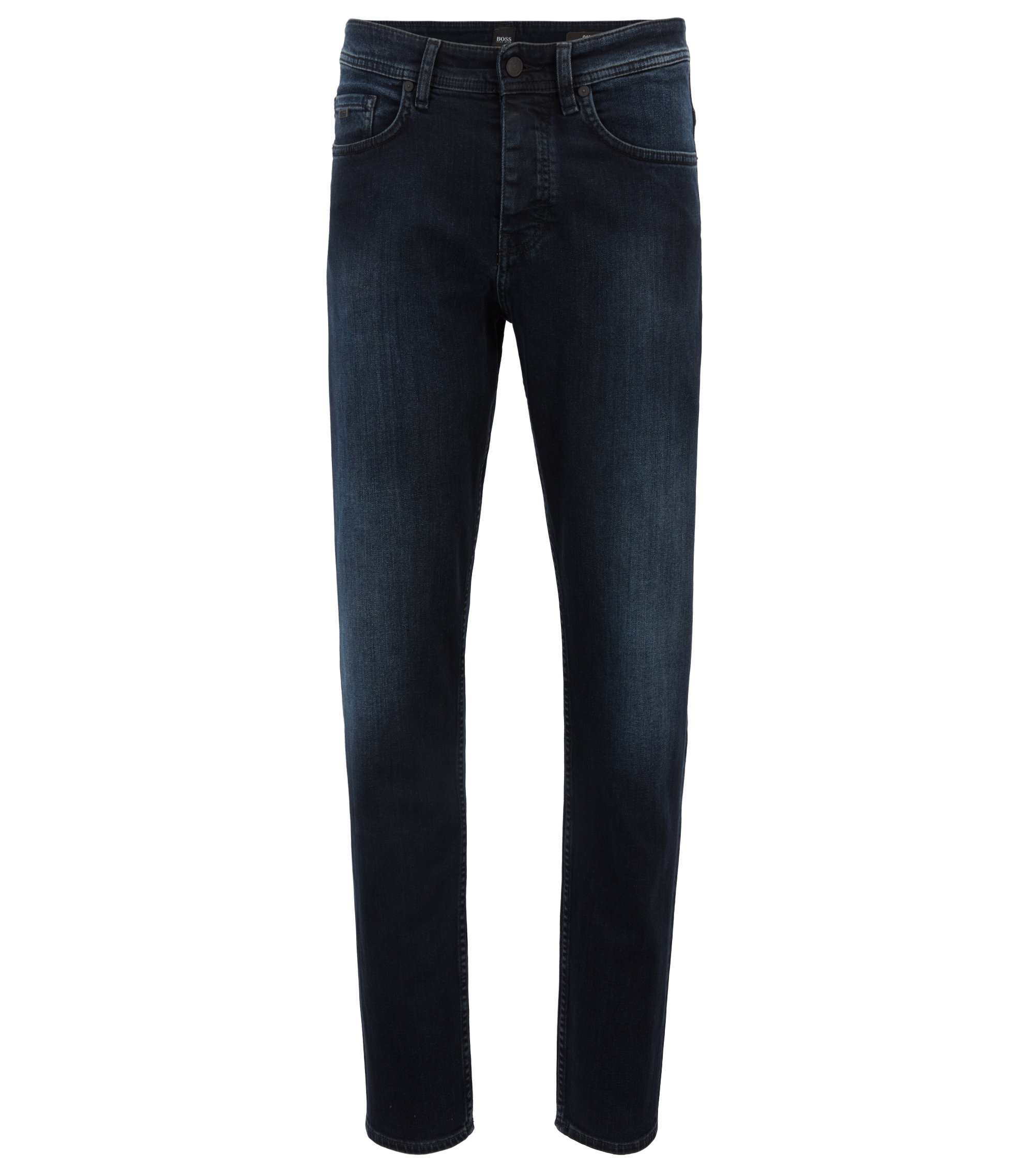 Jeans tapered fit in denim elasticizzato sovratinto blu-nero, Blu scuro