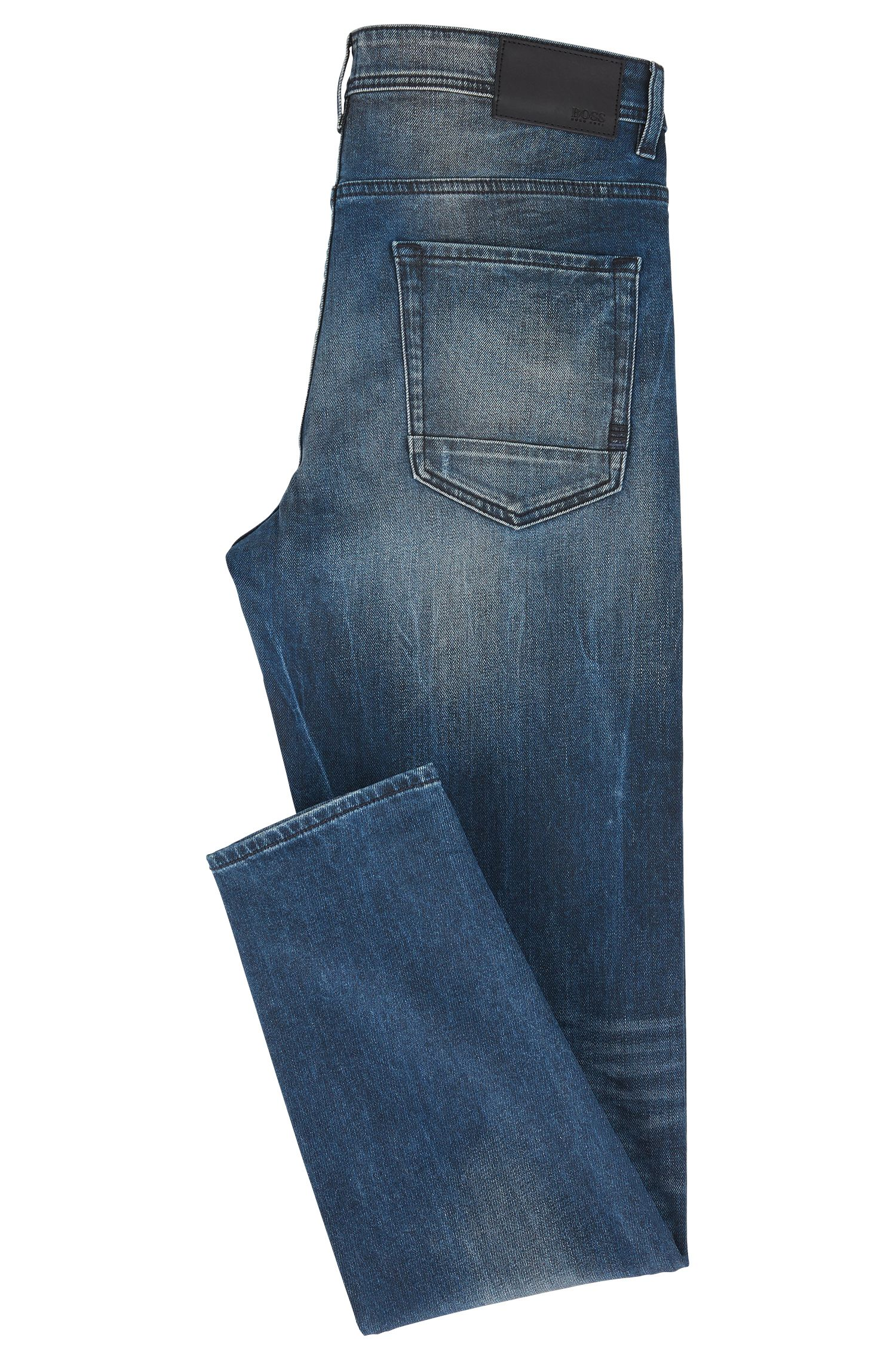 Tapered-Fit Jeans aus beschichtetem Stretch-Denim, Blau