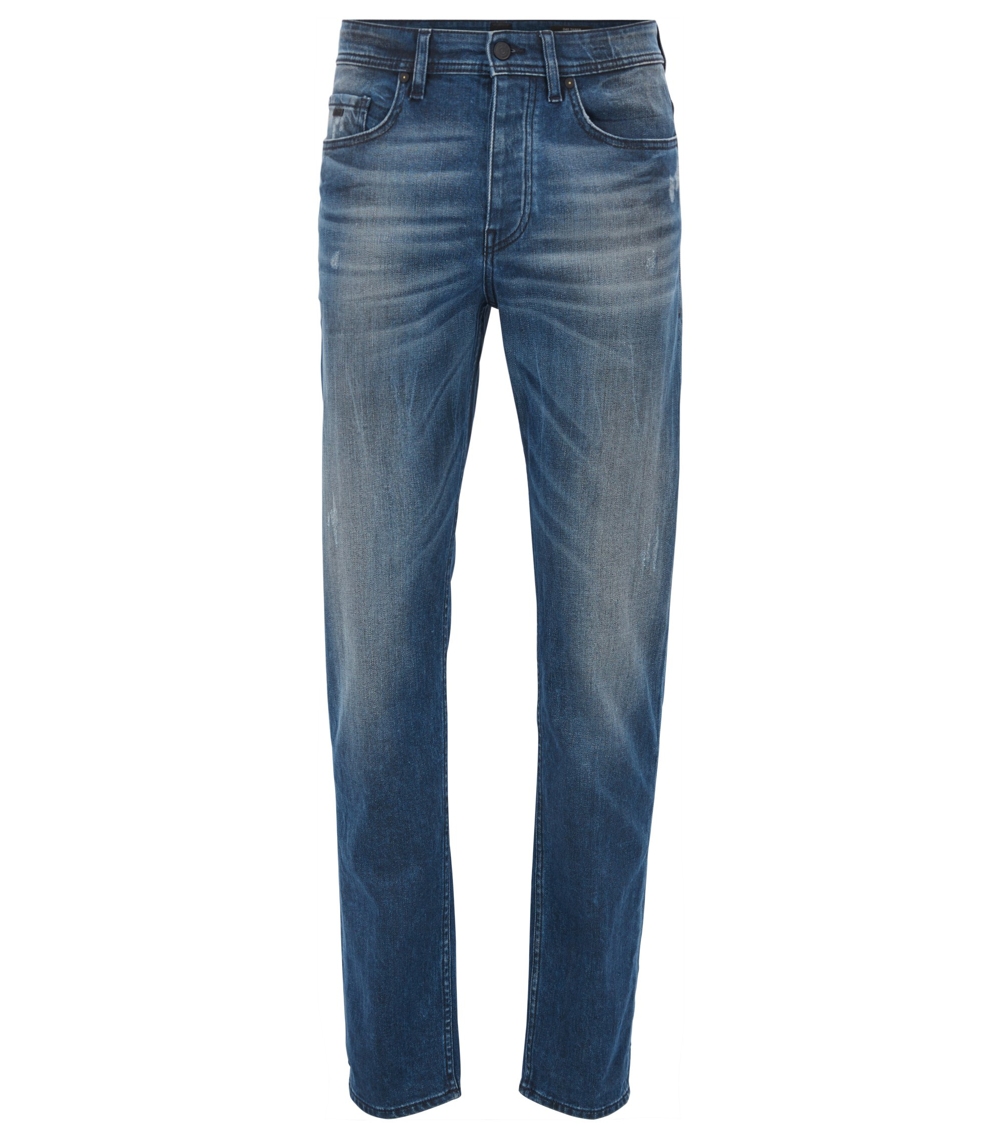 Jeans tapered fit in denim elasticizzato blu medio rivestito, Blu