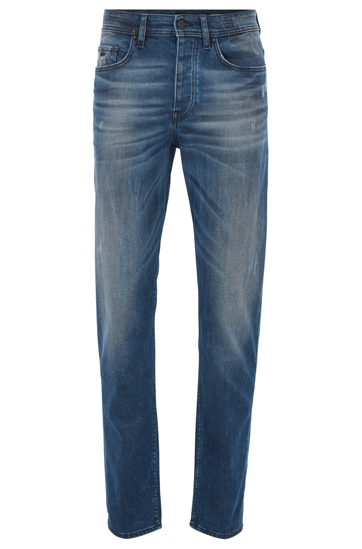 Vaqueros tapered fit de denim elástico en azul medio, Azul