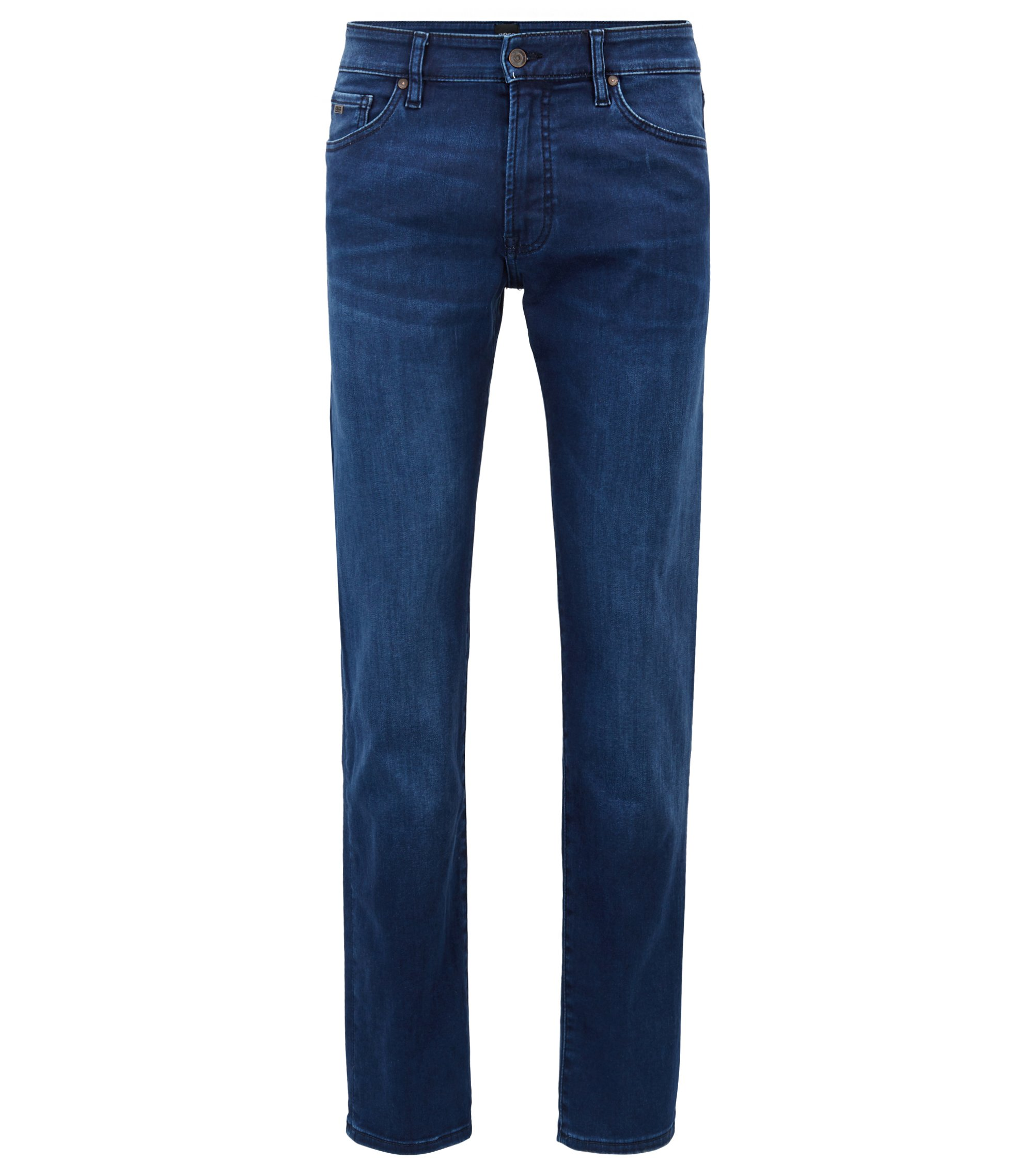 Jeans regular fit in denim super-elasticizzato effetto raso, Blu scuro