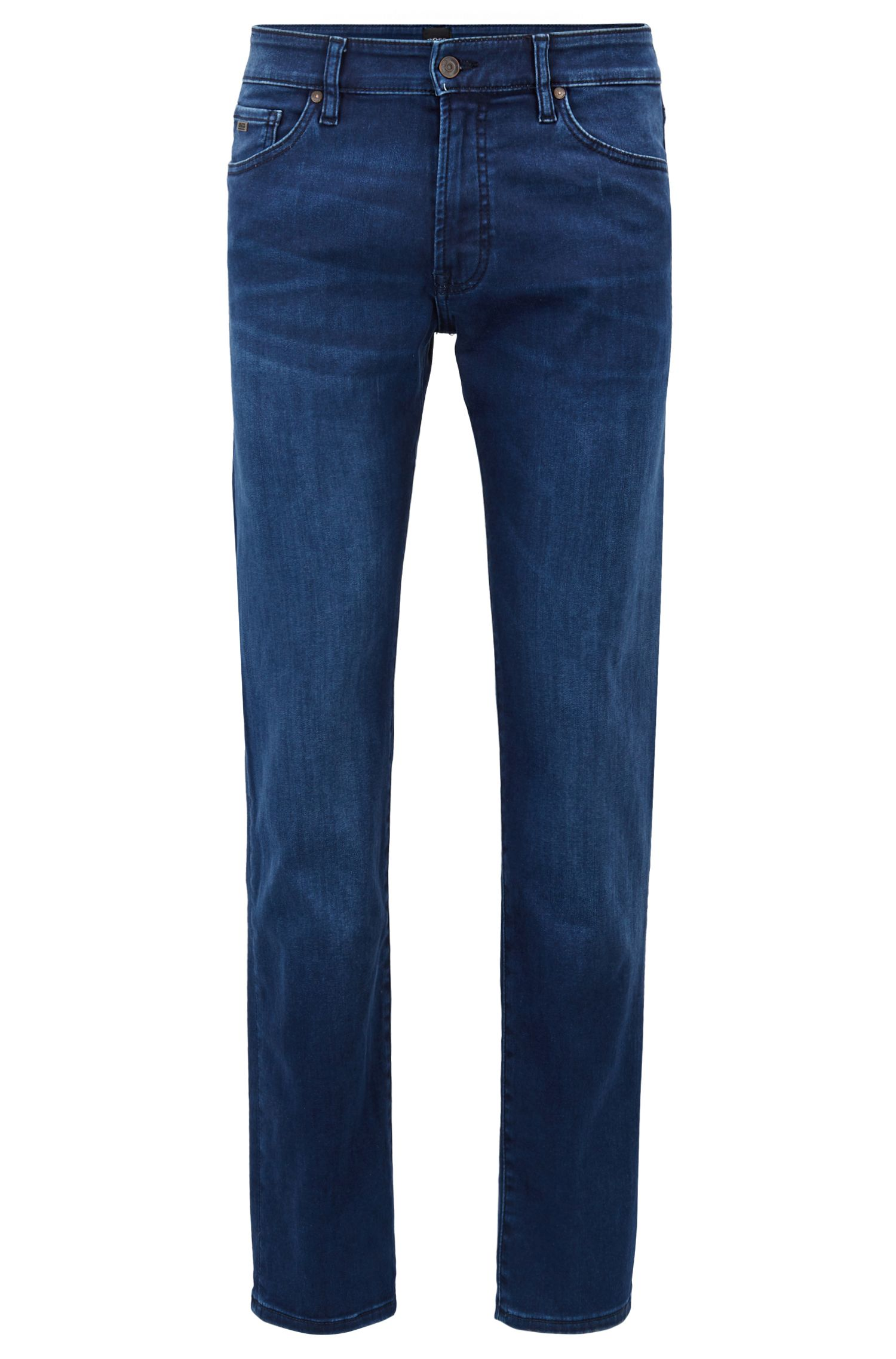 Regular-fit jeans van gesatineerde super-stretchdenim, Donkerblauw