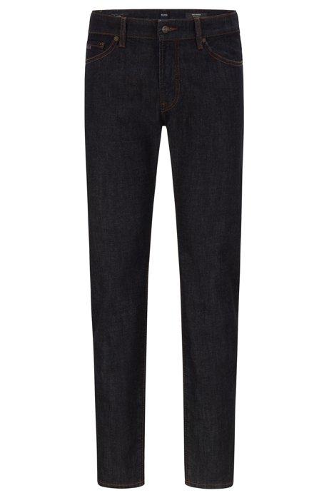 Regular-fit jeans van rinse-washed stretchdenim, Donkerblauw