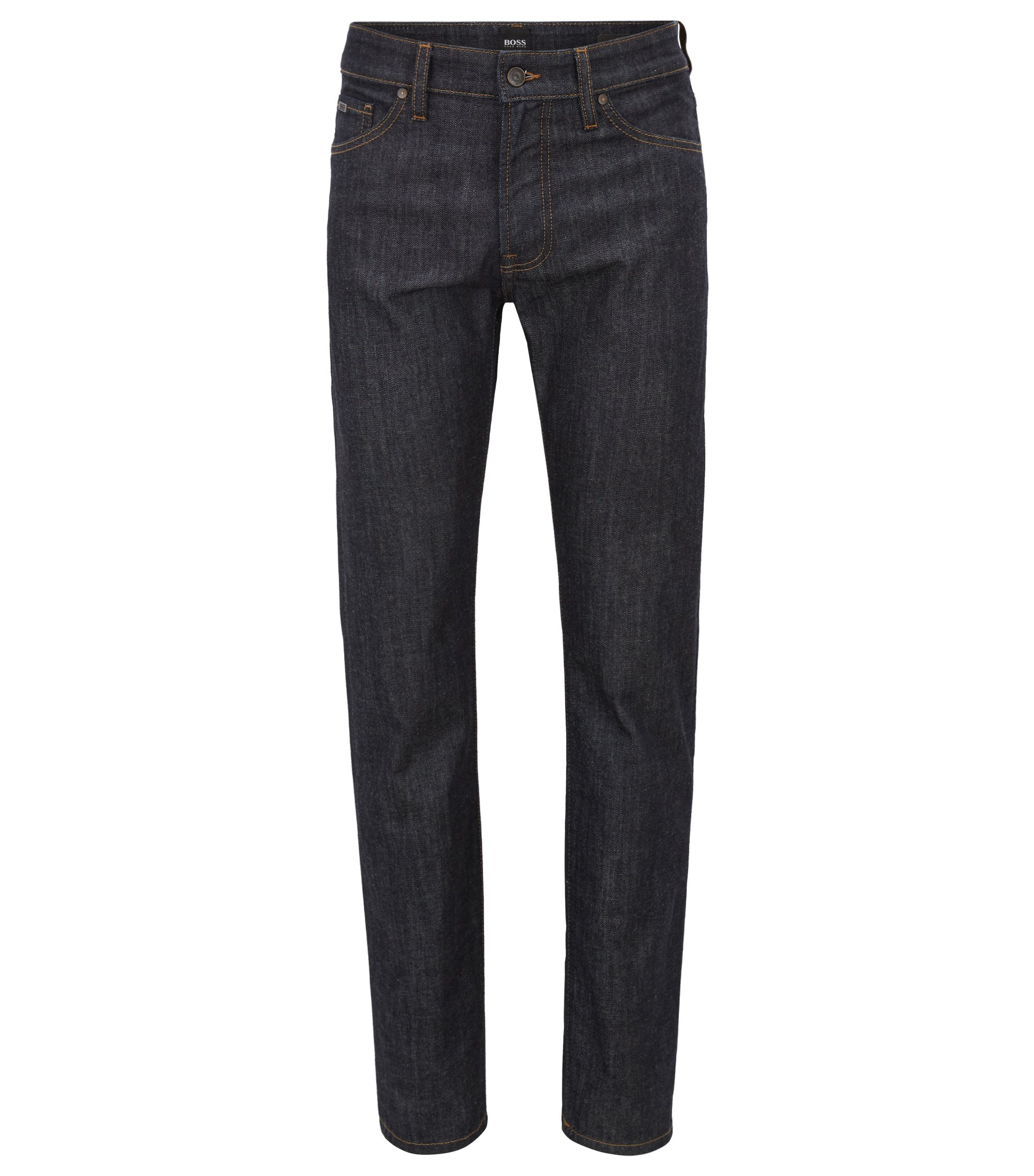 Regular-fit jeans in dark-blue washed stretch denim, Dark Blue