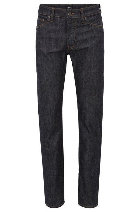 Jean Regular Fit en denim stretch délavé, Bleu foncé