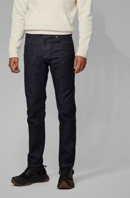 Regular-fit jeans in dark-blue stretch denim, Dark Blue