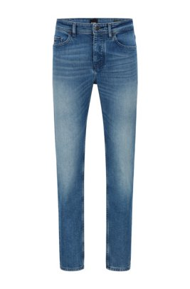 Tapered-fit jeans in bright-blue comfort-stretch denim, Blue
