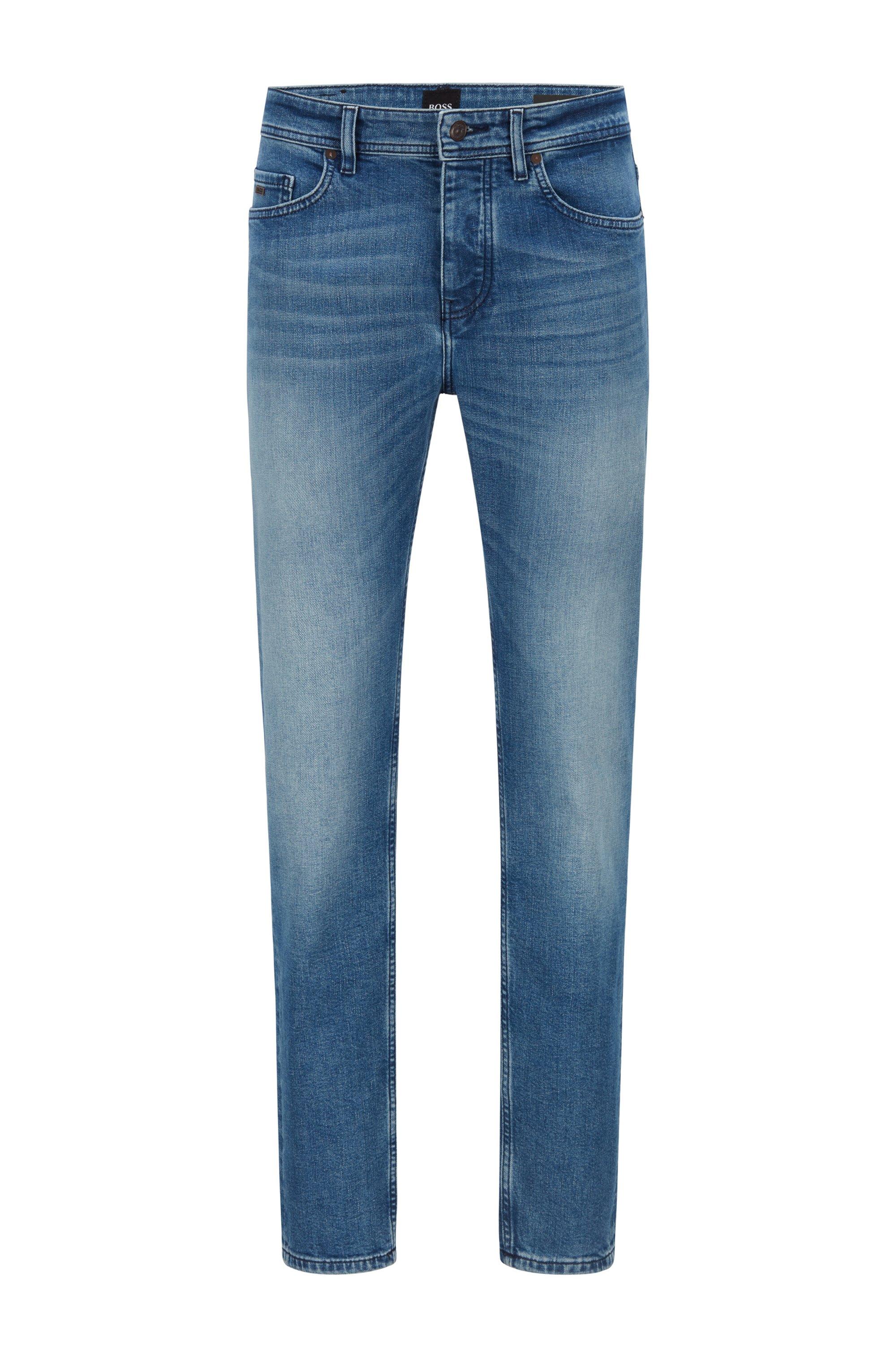 Jeans dal fit affusolato in comodo denim elasticizzato blu acceso, Blu