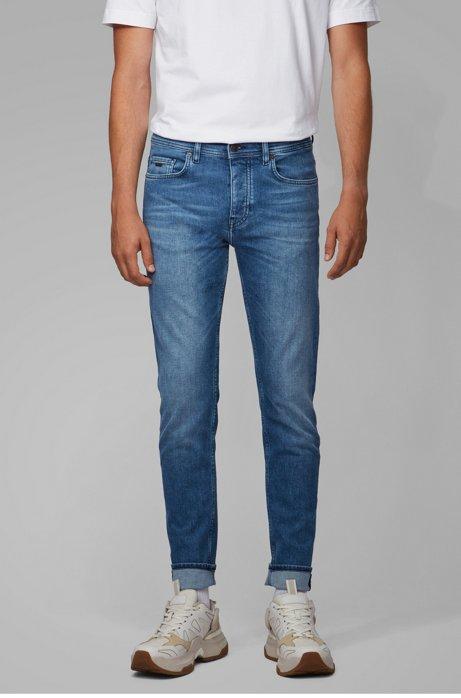 Tapered-Fit Jeans aus Stretch-Denim in Used-Optik, Blau