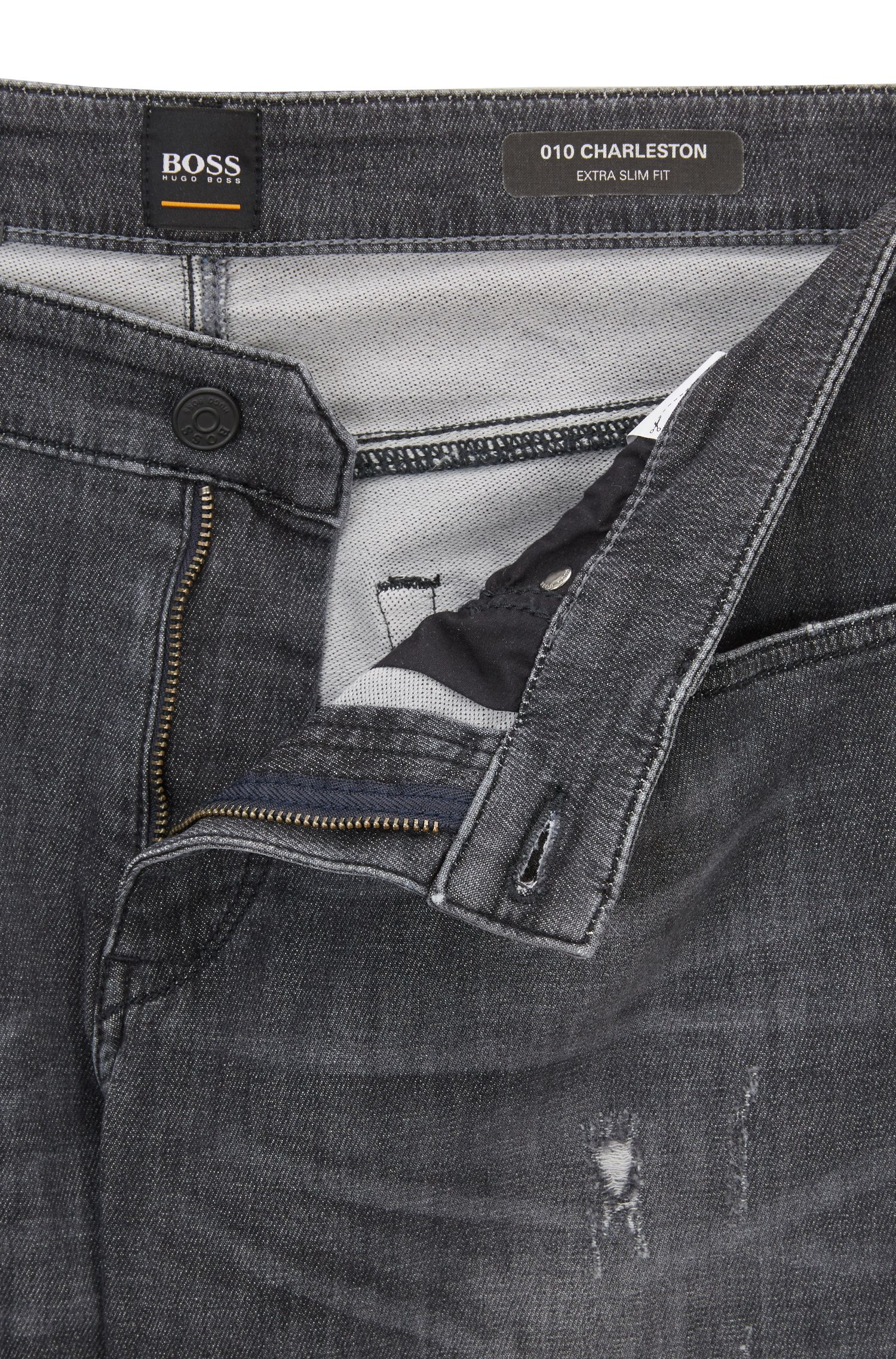 Vaqueros skinny fit en denim elástico tejido de color gris