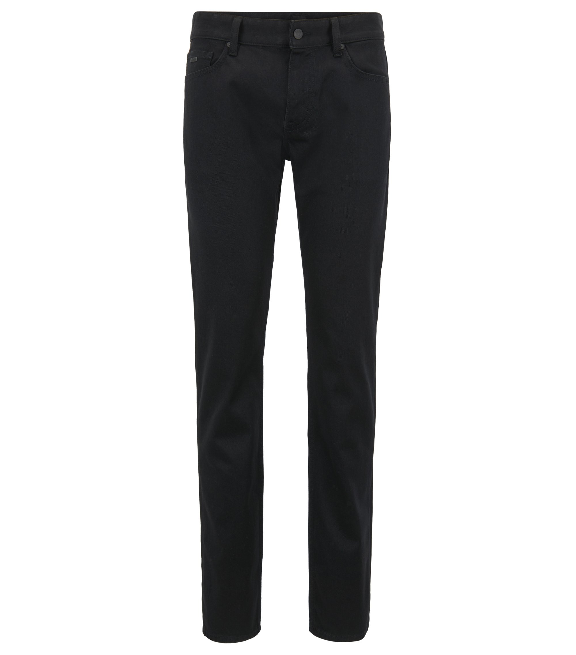 Jeans slim fit in denim elasticizzato nero, Nero
