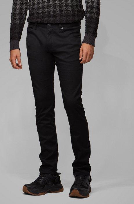 Slim-fit jeans in black rinse-washed stretch denim, Black