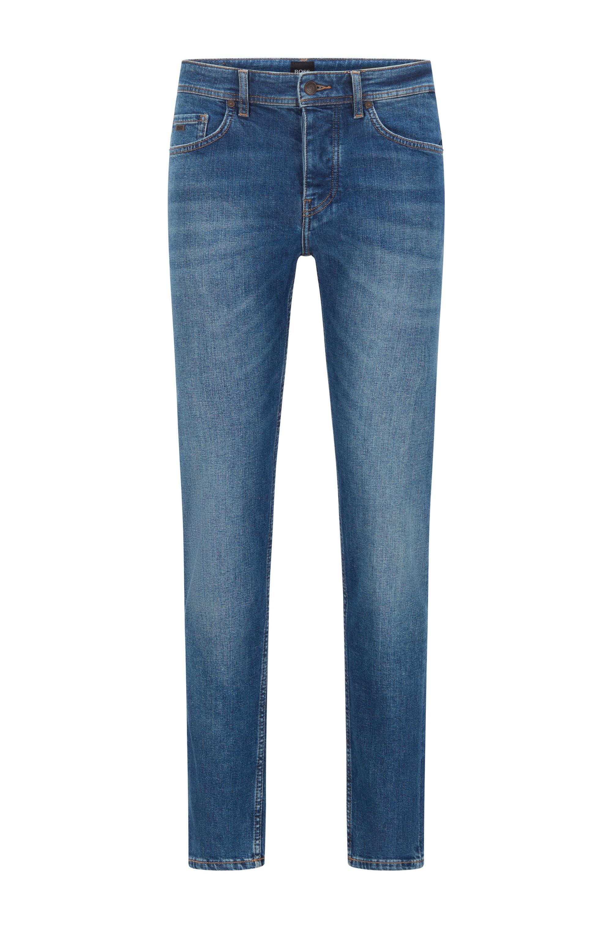 Tapered-fit jeans in mid-blue stretch denim, Dark Blue