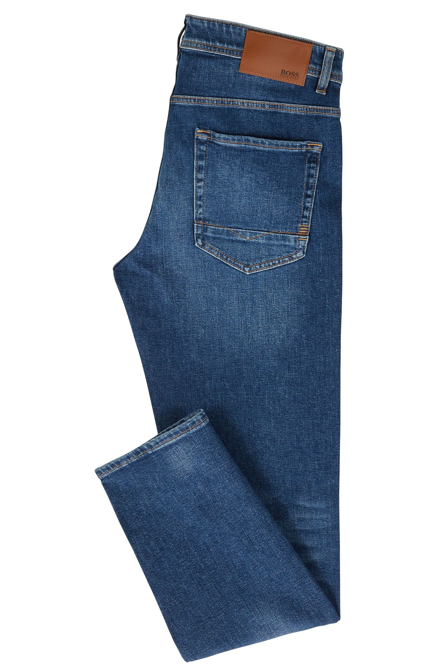Jean Tapered Fit en denim stretch confortable bleu moyen, Bleu foncé
