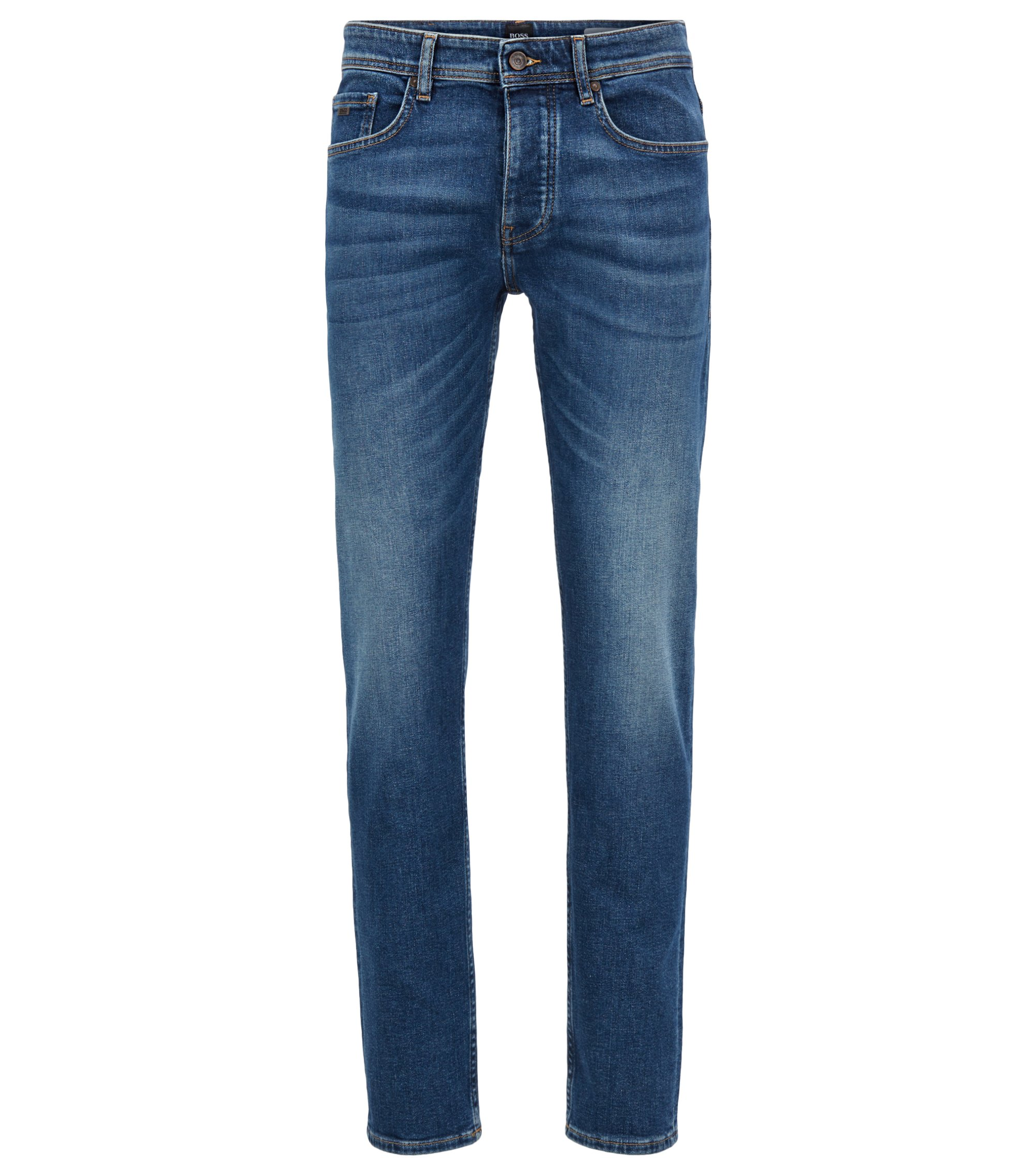 Jeans tapered fit in denim elasticizzato blu medio con effetto vintage, Blu scuro