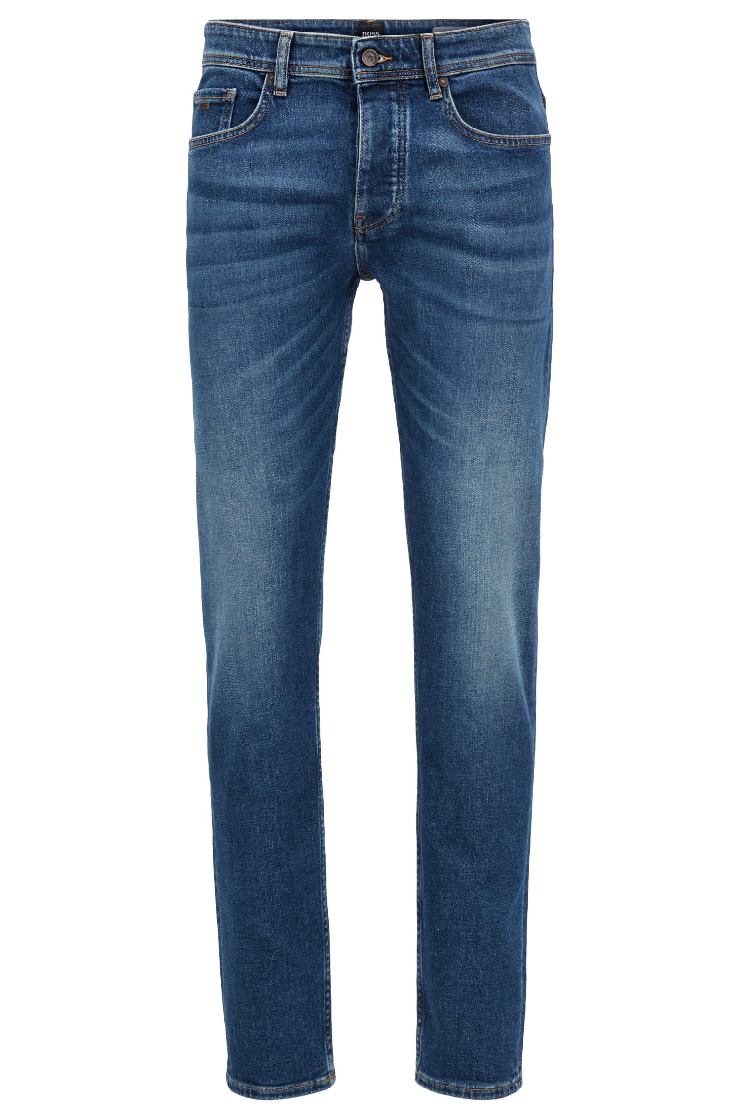 Tapered-fit jeans in mid-blue distressed stretch denim, Dark Blue