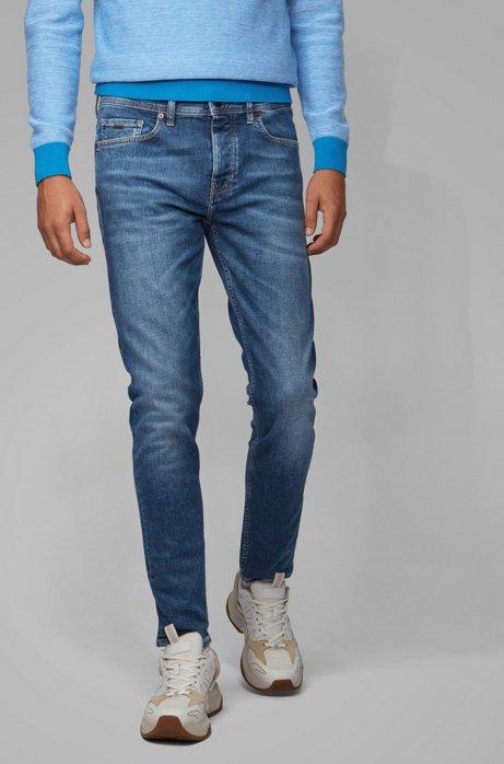 Tapered-fit jeans van middenblauw comfortabel stretchdenim, Donkerblauw