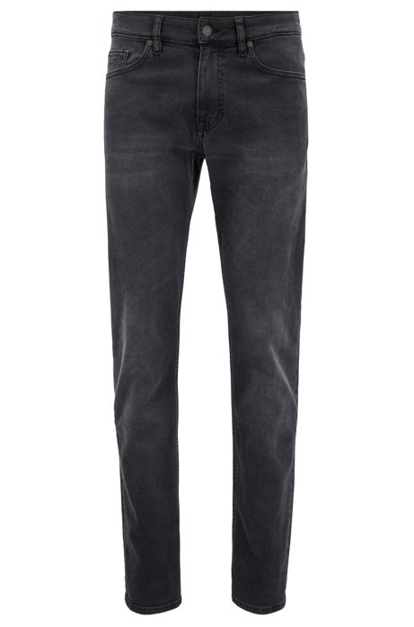 710c8dc22 Slim-fit jeans in grey super-stretch denim, Black
