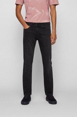 Slim-fit jeans in grey stretch denim, Black