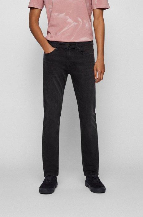 Slim-Fit Jeans aus Stretch-Denim, Schwarz