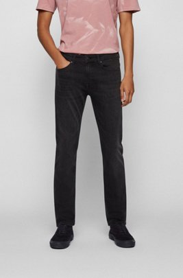 Slim-fit jeans in grey stretch denim, Black