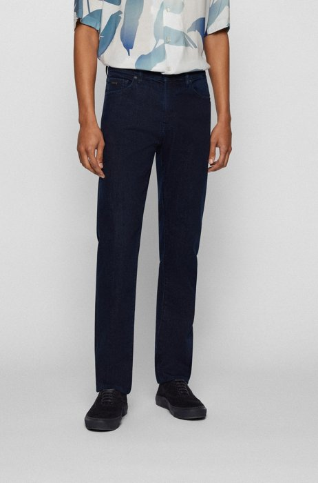 Dark-blue regular-fit jeans in stretch denim, Dark Blue