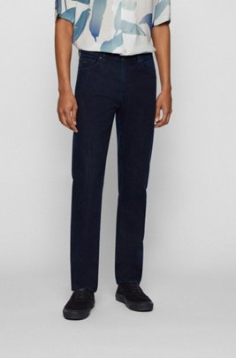 Dark-blue regular-fit jeans in stretch denim, Dark Blue