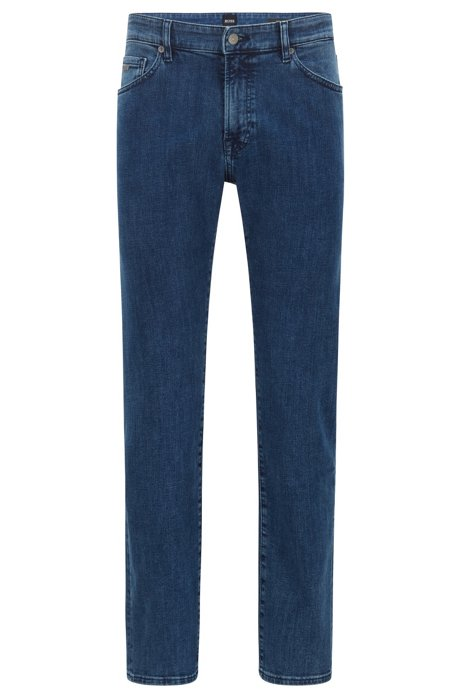 Regular-fit jeans van washed super-stretchdenim, Blauw